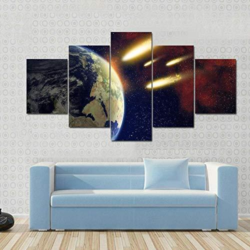 45Tdfc 5 Piezas Impresiones sobre Lienzo Modular DecoracióN PóSter Cuadro Espacio de atmósfera terrestre del Planeta de los Cometas Grandes,Talla:150 * 80Cm HabitacióN Sala HogareñA
