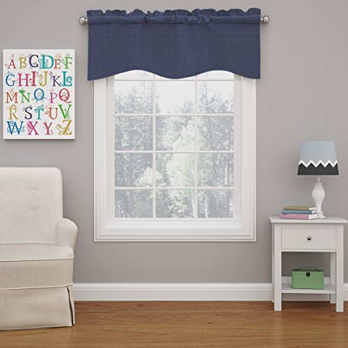 """ECLIPSE Kendall Solid Scalloped Window Valance Curtains, 42"""" x 18"""", Denim"""