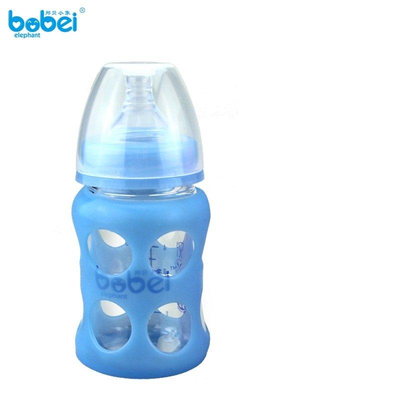 邦贝小象 母婴用品新生婴儿宽口径防爆玻璃奶瓶150ml 小孩防摔防胀气带硅胶保护套240ml玻璃奶瓶新生儿 (150毫升, 蓝色)