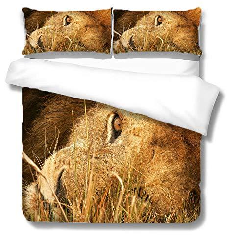Funda nórdica León de Tema Animal acostado Juego de Ropa de Cama 150 x 200 cm Poliéster impresión Digital 3D para niños Adultos con