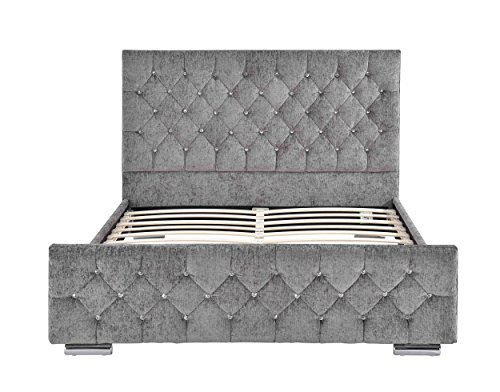Home Detail Crushed Velvet or Chenille Upholstered Bed Frame with Diamond Design Headboard Available in Choice of Colours & Sizes (King Size, Silver Chenille)