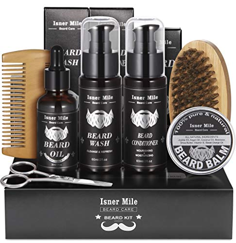 Upgraded Beard Care Grooming Kit with Shampoo Wash, Conditioner, Oil, Balm Softener, Comb, Brush,...