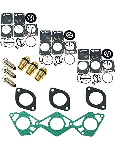 (Compatible With Yamaha) Triple Mikuni Carb Rebuild Kit & Needle/Seat Fits MANY GP1200 & Exciterw/Gaskets