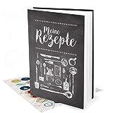 Geschenk-Set XXL Rezeptbuch zum Selberschreiben TAFEL-KREIDE-LOOK + 35 bunte Küchen-Sticker DIN A4 - Notizbuch zum Rezepte aufschreiben Kochbuch Geschenk-BUCH Weihnachten Geburtstag