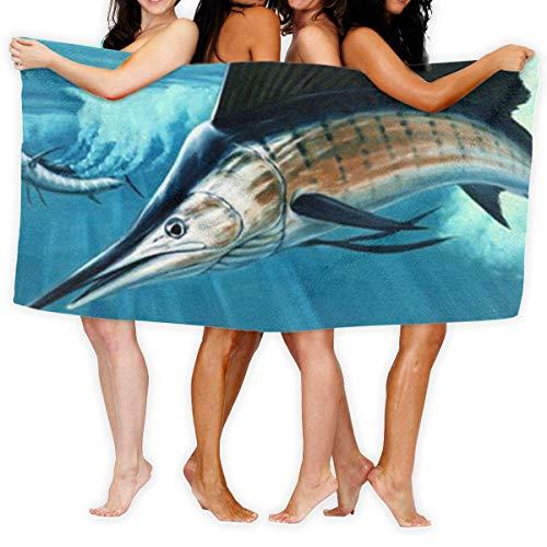 Sailfish Toalla de playa de microfibra de poliéster superabsorbente de 81 x 132 cm, toalla de baño de secado rápido, toalla de playa
