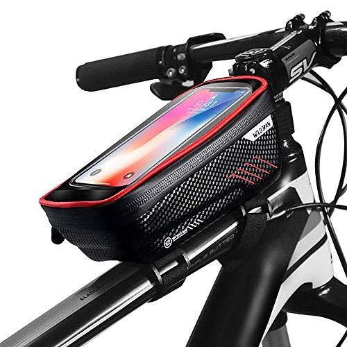 CETECK Sacoche Vélo Cadre Etanche Sacoche Guidon Vélo avec Écran Tactile Support Vélo Téléphone Pochette Velo Guidon pour iPhoneXS Max/XR/X/8Plus/Samsung S9/S8/S7 jusqu'à 6.5\