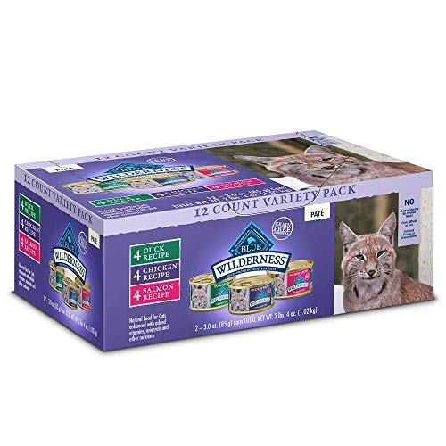 Blue Buffalo Wilderness High Protein Grain Free, Natural Adult Pate Wet Cat Food Variety Pack, Chicken, Salmon, Duck 3-oz cans (12 count- 4 of each flavor)