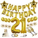 21st birthday decorations, Gold Balloon 21st Birthday Supplies With HAPPY BIRTHDAY Foil Balloon,...