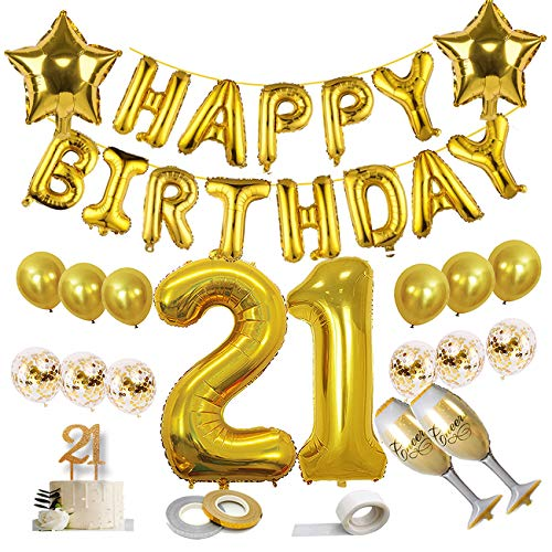 21st birthday decorations, Kwayi Gold Balloon 21st Birthday Supplies With HAPPY BIRTHDAY Foil Balloon, Huge 2 & 1, Sparkling Cake Topper, Champagne Foil Balloon, Totally 35PCS Decoration Kit For Him Or Her