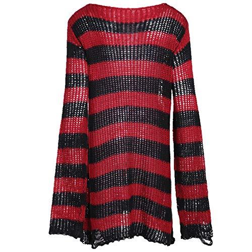 U/A Halloween Gotico Maglia Maglione Delle Donne Lunghe Pullover A Strisce Sciolto Inverno Strappato Plus Size Maglioni Maglioni Rosso Taglia unica