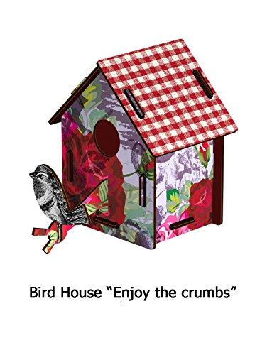 casetta bird hpuse - ENJOY THE CRUMBS - H/L/W: 16,5 X 19 X 14 cm - da una tavoletta di legno ad un accessorio inatteso per la casa