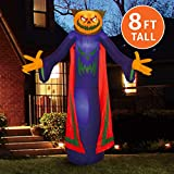Joiedomi Halloween 8 FT Inflatable Pumpkin Wizard with Build-in LEDs Blow Up Inflatables for Halloween Party Indoor, Outdoor, Yard,...