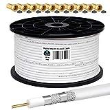 HB-DIGITAL 100m Koaxialkabel HQ-135 Antennenkabel 135dB SAT Kabel 8K 4K UHD 4-Fach geschirmt für DVB-S / S2 DVB-C / C2 DVB-T / T2 DAB+ Radio BK Anlagen + 10 F-Stecker GRATIS