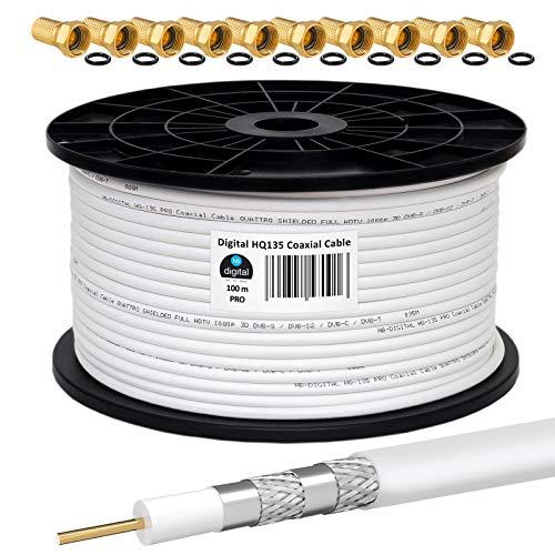 HB-DIGITAL 100m Cavo Coassiale HQ-135 Cavo d Antenna 135dB Cavo SAT 8K 4K UHD 4 Volte Schermato per Sistemi DVB-S   S2 DVB-C   C2 DVB-T   T2 DAB+ Radio BK + 10 F-Plug GRATUITAMENTE