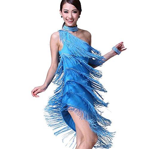 Latein Tanz Kleider Kostüme - Latin Tänze Walzer Tango Swingtanz Party Salsa Dekoration Accessoires Pailletten Quasten Wettbewerb Ball Rock Trikot Tanzkleid für Damen Mädchen - Polyamidfaser (Blau)
