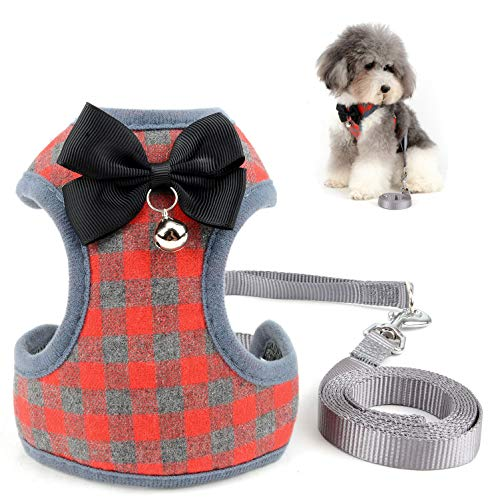 SELMAI Escape Proof Cat Harness with Leash for Small Dogs Plaid Pattern Soft Mesh Vest Harness for Walking Training Leads No Pull for Puppy Chihuahua Dachshund Hiking Jogging Outdoor Red S
