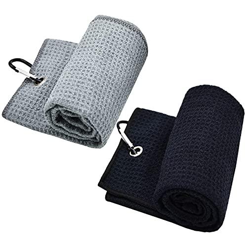 Toalla de golf de microfibra de 2 piezas con clip para bolsas de golf, fitness, deporte, yoga al aire libre (negro+azul, 2) (negro+gris)