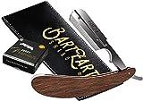 BartZart Shabo maquinilla de afeitar con sistema de cuchillas intercambiables I Juego de maquinilla de afeitar recta Premium con mango de madera con estuche y hojas de afeitar de Derby