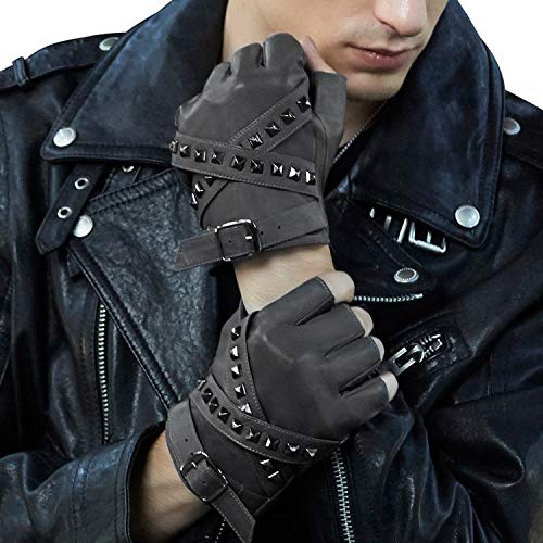 Fioretto Mens Leather Fingerless Gloves Driving Italian Half Gloves Punk Summer Gifts