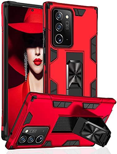 Funda para Samsung Galaxy Note20 Funda TPU 360 Degree Full Body Protective Shock Absorbing Scratch Resistant Mobile Case con función soporte Galaxy Note20 Ultra Case (Note20 Ultra, Rojo)