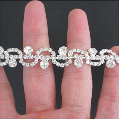 1 Yard Tassel Fringe Rhinestone Tape Trim Ribbon Diamante Diamond Chain Crystal Gem Sparkle Wedding Bridal Necklace Prom Evening Dress Applique Party Show Accessories Sash Belt Craft (Style9: 3/5
