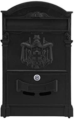 Bigkyo Mailbox Vintage Retro Cast Aluminum Wall Mount Mailbox Mail Postal Letter Box with Lock & Keys Size 10.04x3.54x16.14inches Black Color 1 PC