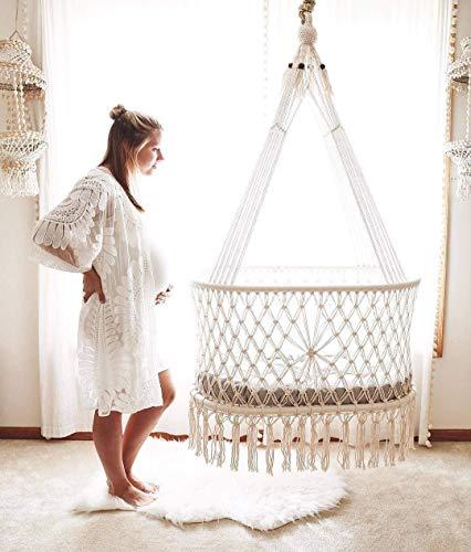 Hanging Crib (Moses) in Macrame with 1 Handmade Mattress