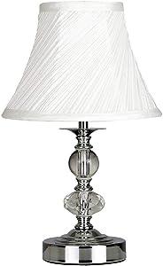 MiniSun - Lámpara moderna de mesa táctil Jaigier - Cromo pulido, cristal y pantalla plisada