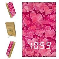 ベッドルーム用デジタル目覚まし時計キッチンオフィス3アラーム設定ラジオウッドデスククロック-アート美しいハートの愛のパターン