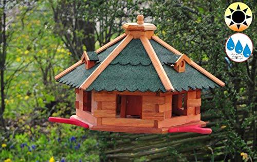 BTV Premium Vogelhaus, groß, XXL mit Anflugbrett/Landebahn + LED - Beleuchtung/Licht, Massivholz,wetterfest, mit Silo/Futtersilo für Winterfütterung BGAL60grOS Holz Vogel + Futterhaus GRÜN