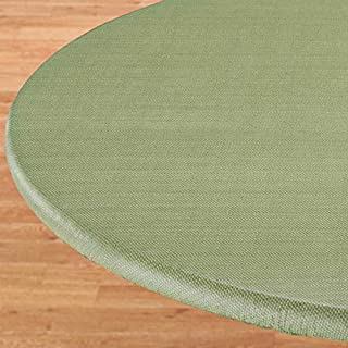 LAMINET Elastic Fitted Table Cover - Basketweave (Green) - Small Round - Fits Tables up to 44 Diameter