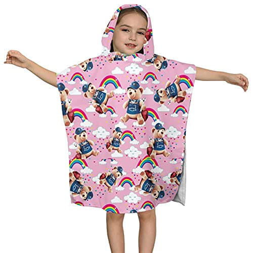 Toalla de baño con capucha para niños, toalla de playa suave, colorida y linda de dibujos animados, rosa, con capucha, toalla de poncho súper suave, absorbente de 2 a 7 años de edad
