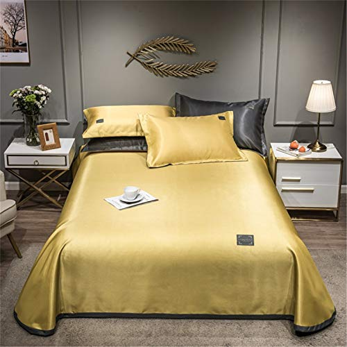 Heimtextilien Pure Color Ice Silk Bettlaken Dreiteiliges Set Home Textile Bedding Waschbare Faltkissen Soft Sheet Kissenbezug 230x250cm
