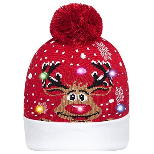 Goodstoworld Männer Frauen Jungen Mädchen Rentier LED Leuchten Weihnachtsmütze Muster Weihnachten Licht Hut für Party 6 Bunten LED Strickmütze Beanie Mütze Wintermütze Christmas Santa Hat