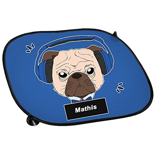 Auto-Sonnenschutz mit Namen Mathis und Mops-Motiv mit blauem Kopfhörer für Jungen | Auto-Blendschutz | Sonnenblende | Sichtschutz