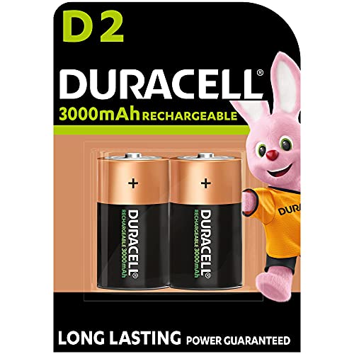 Duracell - Rechargeable D 3000mAh, Batterie Torcia Ricaricabili 3000 mAh, confezione da 2