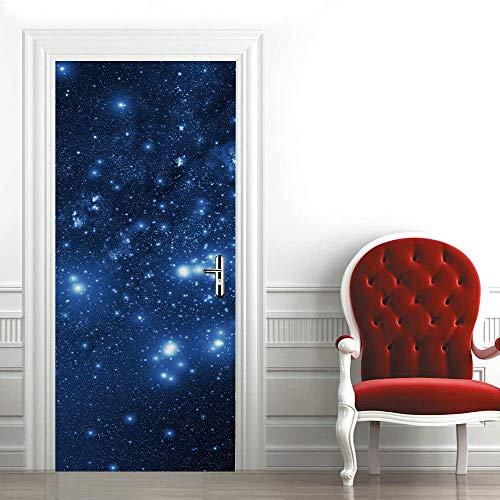 3D Mural para Puerta Cielo Azul,Estrellado Papel Pintado Puerta Sala de Baño Estar Dormitorio Adhesivos para Puertas Removible Papel Tapiz Pvc Murales Posters decoraciones 88x200cm