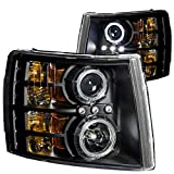 ANZO USA 111107 Chevrolet Silverado Black Clear Projectors With Halos Headlight Assembly - (Sold in Pairs)