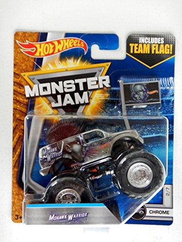 Hot Wheels Monster Jam chrome Mohawk Warrior includes team flag 2/7