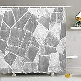 Conjunto de cortina de ducha con ganchos Esquisto Old Handcraft Mármol gris Guijarro Muro de piedra Hogar industrial Retro Marco gris Texturas Pizarra Impermeable Tela de poliéster Decoración de baño