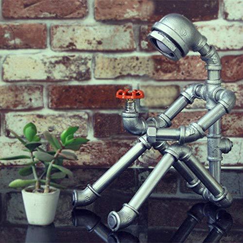 zZZ Retro Industrial De La Lámpara del Viento, La Lámpara De Pipa De Agua Personalizada, Bar Compartida Robot Dormitorio Metal Creativo De La Lámpara (20 * 20 * 35 Cm) (Color : Silver)