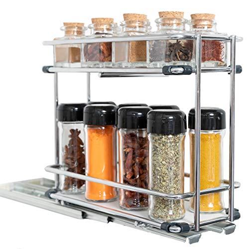 Cubi Spice - Especiero de Cocina Extraible para Armario - Organizador de Especias y Condimentos - Estanterías Metálicas de Acero Inoxidable con 2 Niveles