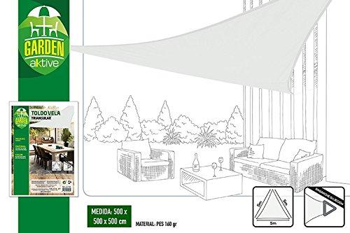 Actief driehoekig zonnescherm voor tuin, polyester, 5 x 5 x 5 m, wit (COLORBABY 53908)