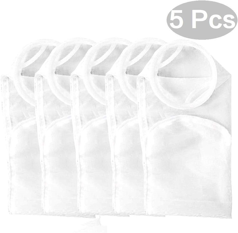 Alberts Filter 5 Pack 7 x32  100μm Nylon Mesh Filter Bags Socks Reusable for Aquarium Fish Tank