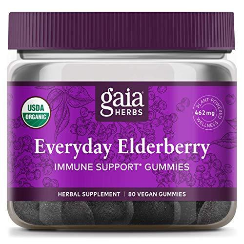 Gaia Herbs, Gummies Elderberry Everyday Organic, 80 Count