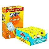swiffer duster piumini cattura polvere, 1 manico, 15 piumini + mastrolindosalviette igienizzanti multisuperficie, 192 pezzi, limone, per tutte le superfici, senza risciaquo