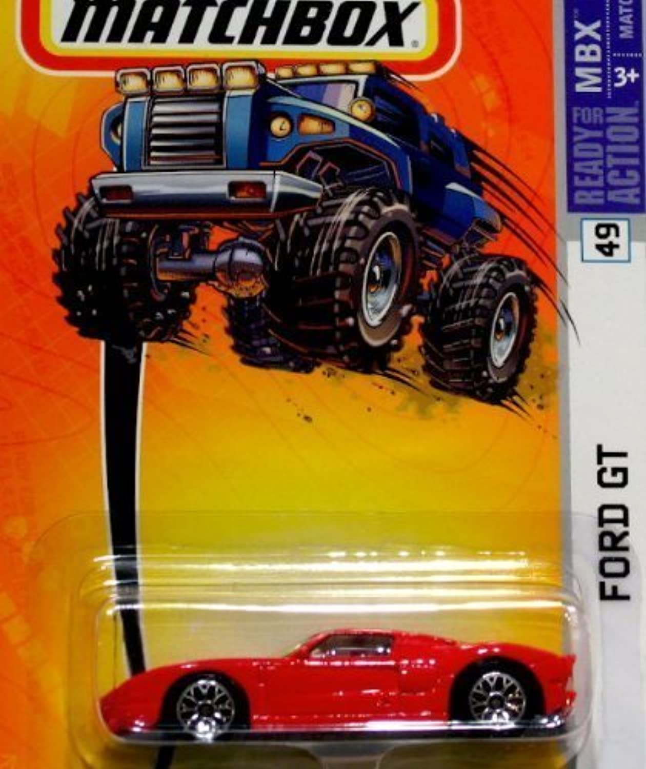 MATCHBOX FORD GT 49 MBX METAL (RED WITH WHITE RACING STRIPES) by Hot Wheels