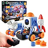 Discovery #MINDBLOWN Customizable Magnetic Building Tiles with Remote Control, 34-Piece Play Set, Build 3 Intergalactic Models, Includes 2 Powered Motors, STEM Toy for Boys and Girls