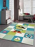 Kinderteppich Spielteppich Kinderzimmer Teppich Pirat in Türkis Weiss Grün Größe 80x150 cm