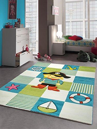 Kinderteppich Spielteppich Kinderzimmer Teppich Pirat in Türkis Weiss Grün Größe 120x170 cm